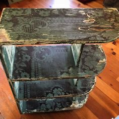 Chippy Paint Bookcase, Shabby Chic Green Bookshelf w Brown, Antique Paisley Lace #Handmade #FrenchCountry