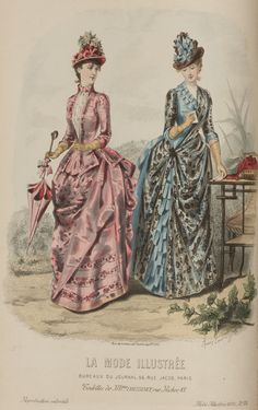Journal des Demoiselles 1887 - I almost saw the trim on the skirt of the jacket of the middle dress as a pocket Victorian Hats, Victorian Costume, Steampunk Costume, Victorian Women, 1880s Fashion, Edwardian Fashion, Vintage Fashion, Vintage Gowns, Mode Vintage