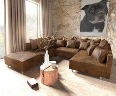 DELIFE Wohnlandschaft Clovis Braun Antik Optik modular Hocker, Design Wohnlandschaften, Couch Loft, Modulsofa, modular 9360-8846-0