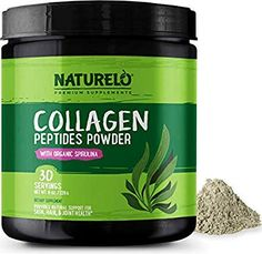 NATURELO Collagen Peptides Powder - Best Supplement for Skin, Hair, Joint Health - Organic Spirulina - 14 Amino Acids - Grass Fed - Hydrolyzed - Digestive Enzymes for Better Absorption - 30 Servings - Long Hair Growth Tips Best Supplements, Natural Supplements, What Is Spirulina, Diy Beauty Care, Healthy Skin Tips, Organic Turmeric, Amino Acids, Collagen