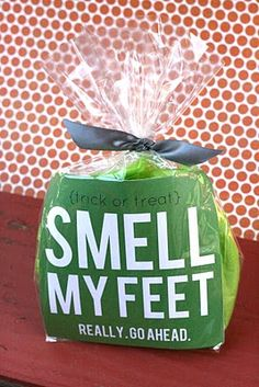 "Smell My Feet! (Free Printable) ~ Put a pair of soft socks and foot lotion in a ""Boo Bag"" for Halloween along. A quick and easy little Halloween gift idea for anyone."