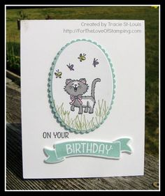 Pretty Kitty Birthday by tstlouis - Cards and Paper Crafts at Splitcoaststampers and like OMG! get some yourself some pawtastic adorable cat shirts, cat socks, and other cat apparel by tapping the pin! Hand Made Greeting Cards, Making Greeting Cards, Girl Birthday Cards, Handmade Birthday Cards, Cat Cards, Kids Cards, Stamping Up Cards, Animal Cards, Baby Kind