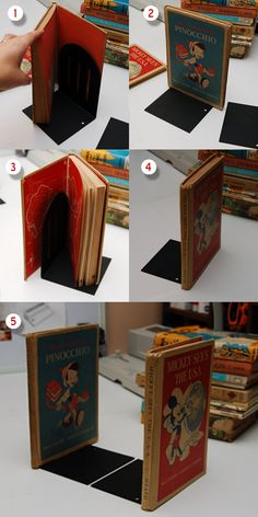 Note: In a departure from my normal take on paper/book crafts, no books were harmed in the making of this tutorial. A lovely selection of children's books, but where are the bookends? Make your own...