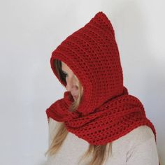 Red hooded scarf, open ends scarf with hood, red scoodie, long hooded scarf, Calypso Long Hooded Scarf, Winter Day, Wool Yarn, Gifts For Women, Hoods, Winter Fashion, Pink, Wraps, Crochet Hats