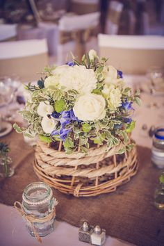blue ivory wedding flowers centrepiece quirky beach wedding http://www.marcsmithphotography.com/