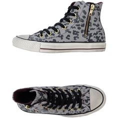 Converse All Star High-Top Sneaker ($83) ❤ liked on Polyvore featuring shoes, sneakers, converse, grey, leopard sneakers, leopard print high top sneakers, grey sneakers, converse high tops and leopard print sneakers