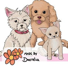 Honden clip art set Chihuahua Poodle Westie  handgetekend in