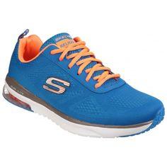 Skechers Skech-Air Infinity Memory Foam Lace Up Blue/Orange Trainer Mens Trainers, Blue Orange, Skechers, Memory Foam, Infinity, Lace Up, Memories, Sports, Sport