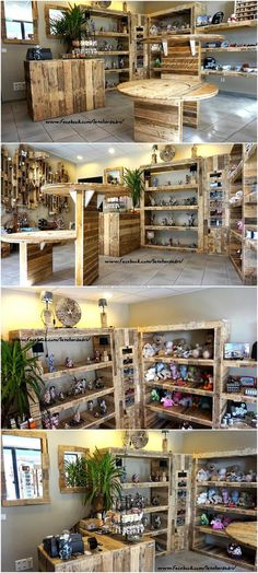 The idea we have presented here is of a shop that contains everything made up of wood pallets. You can see the shelves, table and the reception desk created with the pallets without painting them and they are giving a great look. Wooden Pallets, Wooden Diy, Pallet Wood, Diy Wood, Diy Pallet Projects, Woodworking Projects, Pallet Ideas, Store Layout, Home Salon