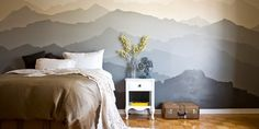 If you've got some skills with a paint brush, use your talent to turn your wall into an accent wall! With this design, you can wake up in the mountains every morning. A breathtaking before and after VIA Canadian artist Pam Lostracco:  Before  	  In progress  	   	  After  	  Timelapse  	   	Read m...