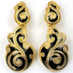 Christian Dior Gold and Black Enamel Plumed Swirls Pendant Clip Earrings