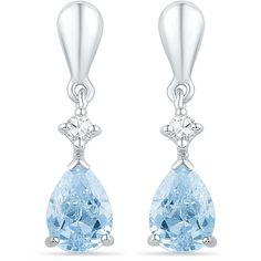 1.72ctw Diamond Swiss Blue Topaz Earring ($194) ❤ liked on Polyvore featuring jewelry, earrings, gold, diamond jewelry, white diamond jewelry, white earrings, gold tone earrings and diamond earring jewelry
