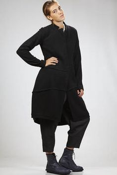 Yukai   coat in light surplice wool cloth with external ribs   #yukai