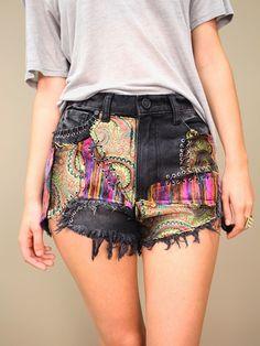 hendrix shorts by UNIF, high-waisted cutoff shorts, paisley patchwork | shopcuffs.com