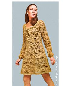 1960s Vintage Empire Dress Crochet Pattern: Young-looking empire dress is worked in the round- there are no side or sleeve seams. Pattern is