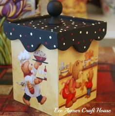 beautiful decorative box for the kitchen Tole Painting, Diy Painting, Painting On Wood, Wooden Art, Wooden Boxes, Wood Crafts, Diy And Crafts, Beaded Boxes, Decoupage Box