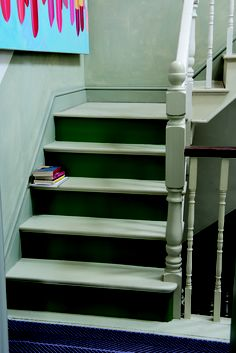 Stairs and steps in Off-White Floor Paint and Calke Green Floor Paint.