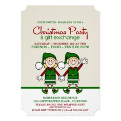 Christmas Elves Gift Exchange Party Invitation