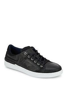 Kenneth Cole REACTION Hitch Hike Leather Sneakers - Black - Size