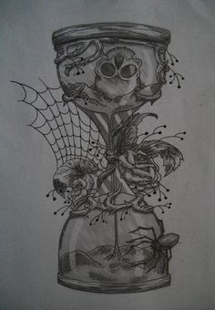 pocketwatch in hour glass drawing | hourglass time tattoo designs hourglass tattoo designs sketch of ...