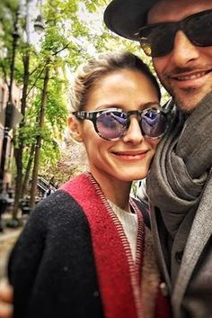 Olivia Palermo wearing Burberry Colour Block Check Blanket Poncho and Westward Leaning Voyager 9 Sunglasses