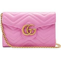 Gucci GG Marmont quilted-leather cross-body bag ($1,300) ❤ liked on Polyvore featuring bags, handbags, shoulder bags, pink, pink shoulder bag, chevron purses, pink crossbody purse, crossbody purse and gucci handbags