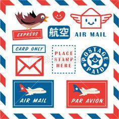 Lettre par avion, Service postal, Enveloppe, Timbre-poste, Encadrement Illustration vectorielle libre de droits