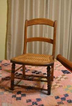 Vintage Wood Side Chair with Cane Seat Ladder Back by PanchosPorch, $65.00