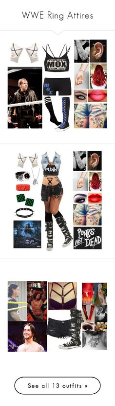 """""""WWE Ring Attires"""" by poppunkerina ❤ liked on Polyvore featuring Lija, C.R.A.F.T., WWE, Converse, Victoria's Secret, Vogue, MARBELLA, Neon Hart, McQ by Alexander McQueen and Hot Topic"""