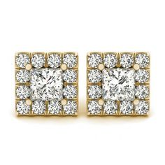 Halo Princess Cut Square Diamond Stud Earrings in 18k Yellow Gold ($1,799) ❤ liked on Polyvore featuring jewelry, earrings, princess cut stud earrings, halo diamond earrings, 18 karat gold earrings, 18k yellow gold earrings and gold diamond earrings