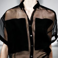Transparency - black sheer shirt with opaque modesty panels - sheer blouse; chic fashion details