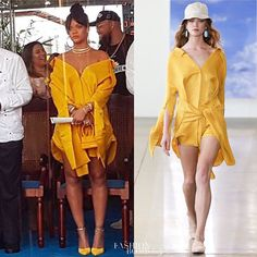#Rihanna wore @hellessy at a ceremony in Barbados with the Prime Minister in her honor to rename Westbury New Road as Rihanna Drive. She wore the #Hellessy Hutton Tunic Dress with Side Panels in Marigold Look 14 from the Hellessy Spring/Summer 2018 Runway Show. Hot! Or Hmm..? #instafashion #style #instastyle #fashionbombdaily #celebritystyle #fashion - Celebrity #Fashion Style Culture Couture Advertising Culture #Beauty Editorial #Photography Magazines Supermodels Runway Models