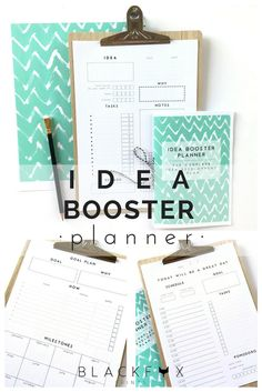 Idea Booster Planner. Printable Planner Pages in A4, A5 and letter size to help you make it happen. Nice and simple planner with the main objective of helping you to make your ideas reality. Perfect a creative person like you, a person who is always thinking of new and exciting ideas to develop, this planner will help you during all the process.