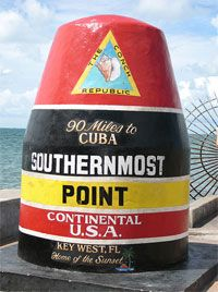 This concrete buoy marks the Southernmost Point in the continental United States, only 90 miles from Cuba. Located at the corner of South Street and Whitehead Street, it's a photo stop for virtually every traveler to Key West