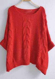 Red Batwing Sleeve Loose Pullovers Sweater