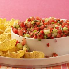 Watermelon Salsa- I've made it and love it! Makes me feel like I'm eating healthier