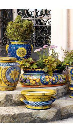 Talavera pots--love yellow and blue combination