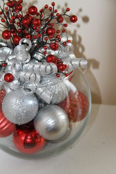 Unique Christmas Centerpiece - Red and Silver Holiday Decor