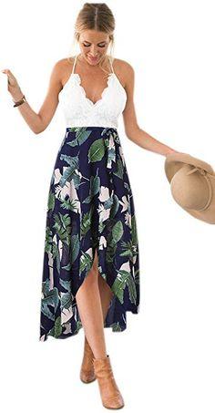 e56af92d8bb8e0 Blooming Jelly Women's Sleeveless Deep V Neck Spagehtti Strap Halter Criss  Cross Summer Asymmetrical Floral Party