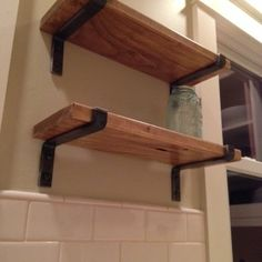 wood shelves with metal brackets could so do this will all the native timber