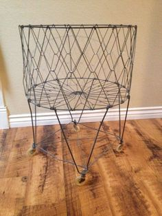 Vintage Wire Collapsible Laundry Basket with Wheels