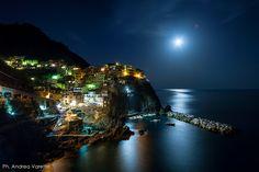 Manarola, Italy.  Moonrise by Andrea Varetto on 500px.