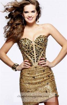 Sexy Short Gold Beaded Tight Prom Dress 2014