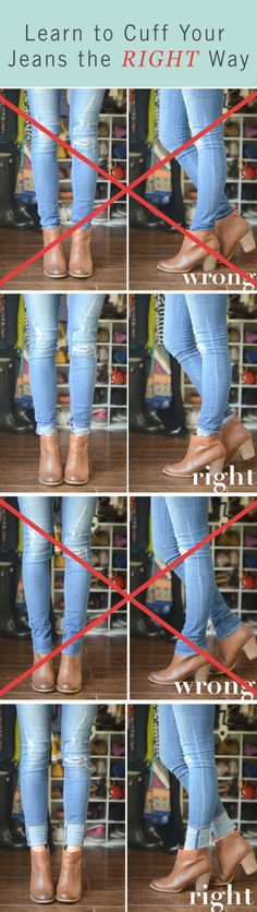 Do you know how to wear jeans and ankle boots? You need to cuff them just the right way.
