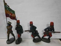 Konvolut 4 alte Hausser Elastolin Massesoldaten Senegalais Abessinier zu 7.5cm | eBay
