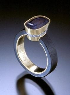 LOVE!  Queen Ring of iron, platinum, 18k gold and purple sapphire by Pat Flynn (PatFlynnInc.com) ring-queen-260