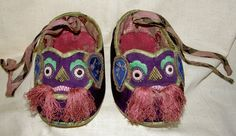 antique Chinese child's shoes, embroidered, year of the dog