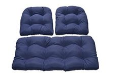 Navy  Dark Blue Solid Fabric Cushions for Wicker Loveseat Settee  2 Matching Chair Cushions <3 View the item in details by clicking the image
