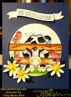 Hope Your Day Is Awesome Cheerful Cow Card | Tracy Marie Lewis | www.stuffnthingz.com