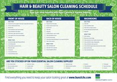 Housekeeping checklist sop spa cleaning checklist partys hair and beauty salons cleaning schedule and supply template fandeluxe Images
